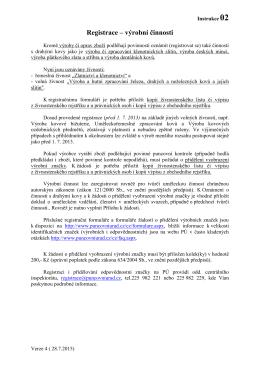 02 Registrace – výrobní činnosti