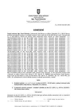 USNESENÍ - Exekutorský úřad Beroun