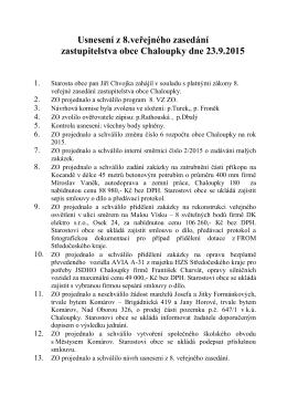 Usnesení z 8. veřejného zasedání zastupitelstva obce Chaloupky