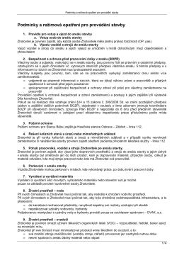Podmínky a režimová opatření pro provádění stavby
