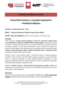 Humanitární pomoc a rozvojová spolupráce v hodinách dějepisu