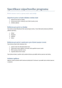 Specifikace zápočtového programu