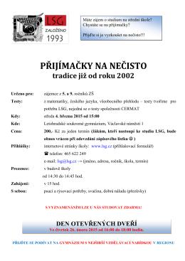 PŘIJÍMAČKY NA NEČISTO - Letohradské soukromé gymnázium