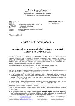 MĚSTSKÝ ÚŘAD VIMPERK Odbor výstavby a ÚP