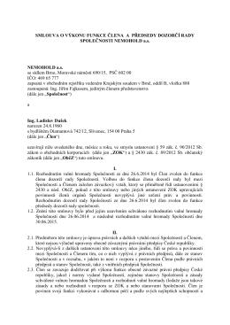 Smlouva o výkonu funkce člena dozorčí rady Ing