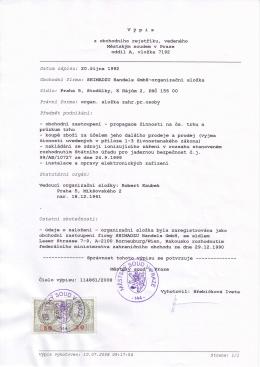 Page 1 výpis z obchodního rejstříku, vedenétro Měst,ským soudem v