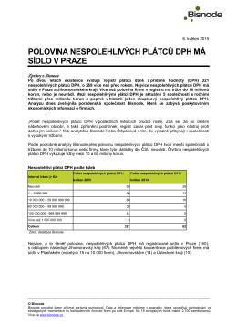 Polovina nespolehlivých plátců DPH má sídlo v Praze | tisková