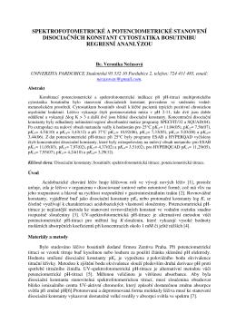 spektrofotometrické a potenciometrické stanovení disociačních