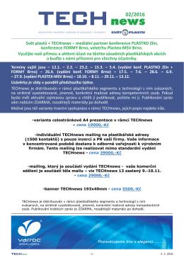 Svět plastů + TECHnews – mediální partner konference PLASTKO