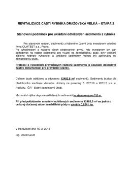 REVITALIZACE ČÁSTI RYBNÍKA DRAŽOVSKÁ VELKÁ – ETAPA 2