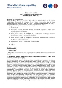 Záznam ze 4. jednání Rady vlády konaného dne 20. května 2015