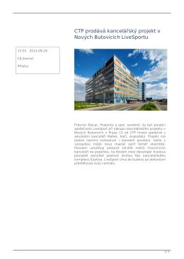 CTP prodává kancelářský projekt v Nových Butovicích LiveSportu