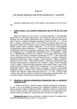 Akademická rada AV ČR - Zápis
