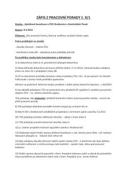 ZÁPIS Z PRACOVNÍ PORADY č. 9/1