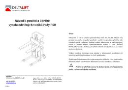 Návod k použití a údržbě vysokozdvižných vozíků řady PSO