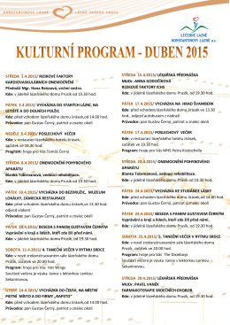 Kulturní program na měsíc duben
