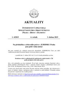 Aktuality č. 4/2015 - Společnost pro církevní právo