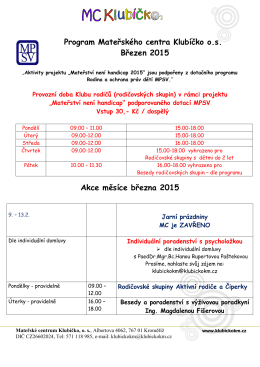 Program Mateřského centra Klubíčko o.s. Březen 2015 Akce měsíce