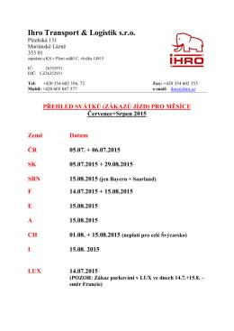Svátky a zákazy jízd 2015 - Ihro Transport & Logistik, sro