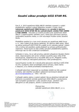 Soudní zákaz prodeje klíčů STAR RS.