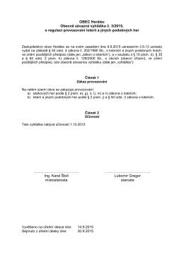 vyhláška č. 3 - zakaz loterie
