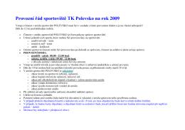 Provozní řád sportoviště TK na rok 2008