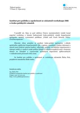 Tisková zpráva - Institut pro politiku a společnost