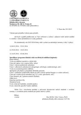 Dětské lékařství - Dopis pro primáře se sylabem