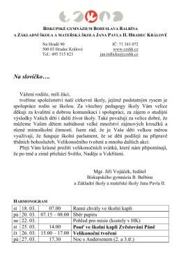březen - Základní škola a mateřská škola Jana Pavla II, Hradec