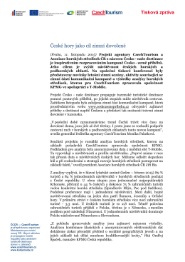 tiskovou zprávu Czechtourismu - Asociace horských středisek ČR, os