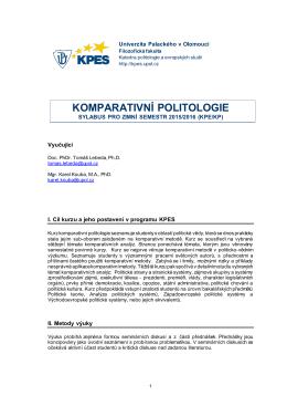 Sylabus KP 2015 2016 - Katedra politologie a evropských studií