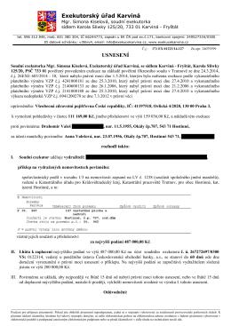 Usnesení o příklepu Valeš - Exekutorský úřad Karviná