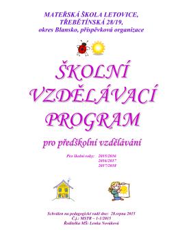 ŠVP- MŠ Třebětínská od 1.9.2015