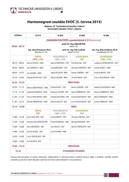 Harmonogram soutěže SVOČ (3. června 2015)