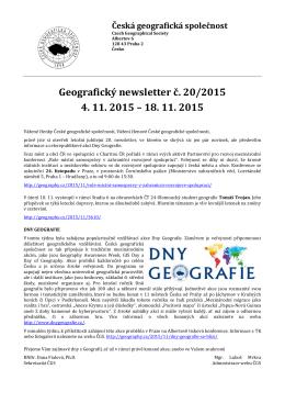 Newsletter 2015/20 - Kartografická společnost ČR