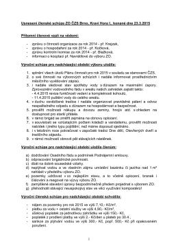 Usnesení výroční členské schůze