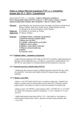 Schůze OO 15. 01. 2015
