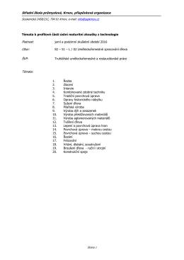 2015 Témata k ústní maturitní zkoušce technologie