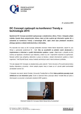 DC Concept vystoupil na konferenci Trendy a technologie 2015