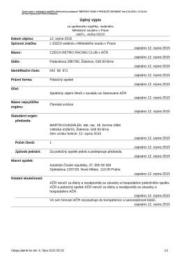 Úplný výpis ze spolkového rejstříku