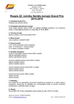 Rozpis 22. ročníku Seriálu turnajů Grand Prix 2015-2016