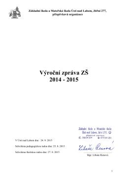 Výroční zpráva ZŠ 2014 - 2015