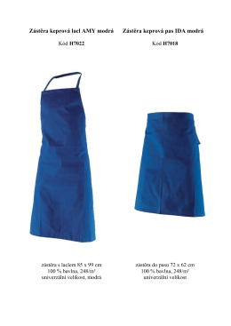Zástěra keprová lacl AMY modrá Zástěra keprová pas IDA modrá