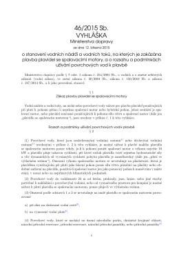 vyhláška Ministerstva dopravy č. 46/2015 Sb.