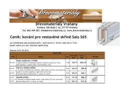 Dřevomateriály Vraňany Ceník: kování pro vestavěné skříně Salu S65