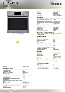 Produktový list - Whirlpool ABSOLUTE AKP 742 IX nerez