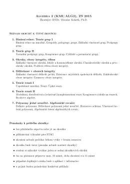 Algebra 2 (KMI/ALG2), ZS 2015