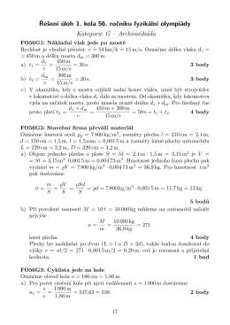 Řešení úloh 1. kola 56. ročníku fyzikální olympiády Kategorie G