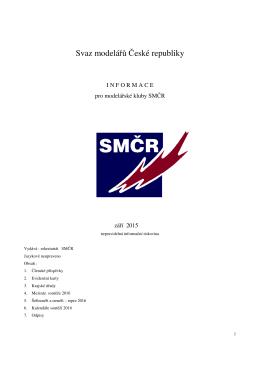INFORMACE pro modelářské kluby - září 2015