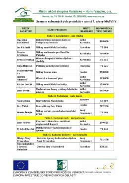 seznam vybraných projektů ze 7. výzvy mas valašsko